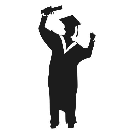 Female graduate cheering silhouette.