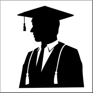 Clip Art: Graduate Male Silhouette B&W I abcteach.com.
