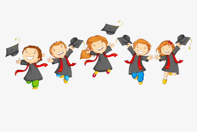 A group of graduate students cute cartoon PNG clipart.