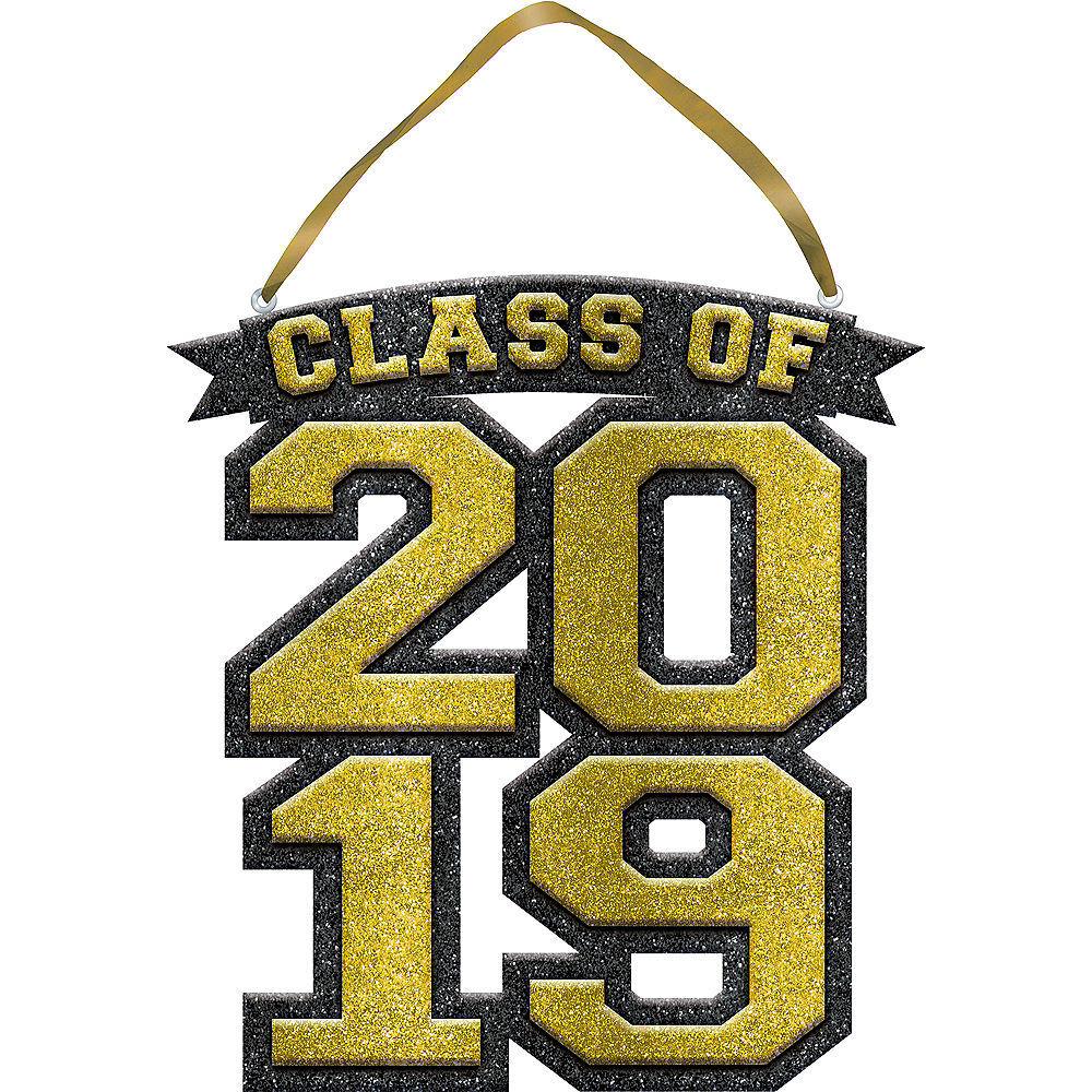 Glitter Gold Class of 2019 Graduation Sign.