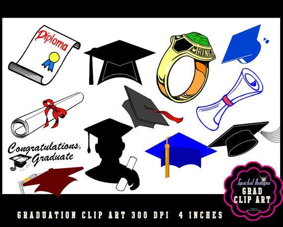 GRADUATION Clip Art Scroll clip art Grad clipart Diploma.