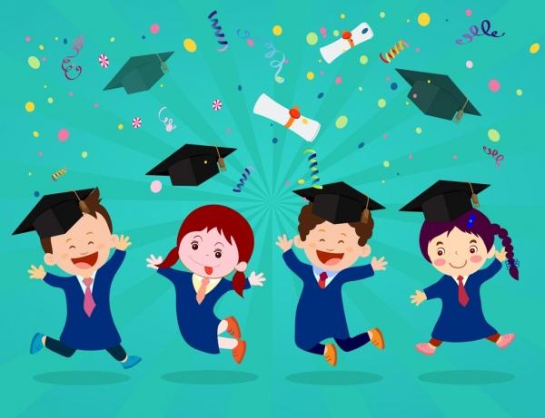 Graduation background joyful kids icons colored cartoon.