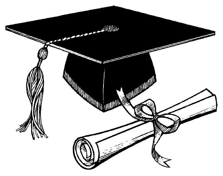 Graduation Cap And Diploma Clipart Black And White.