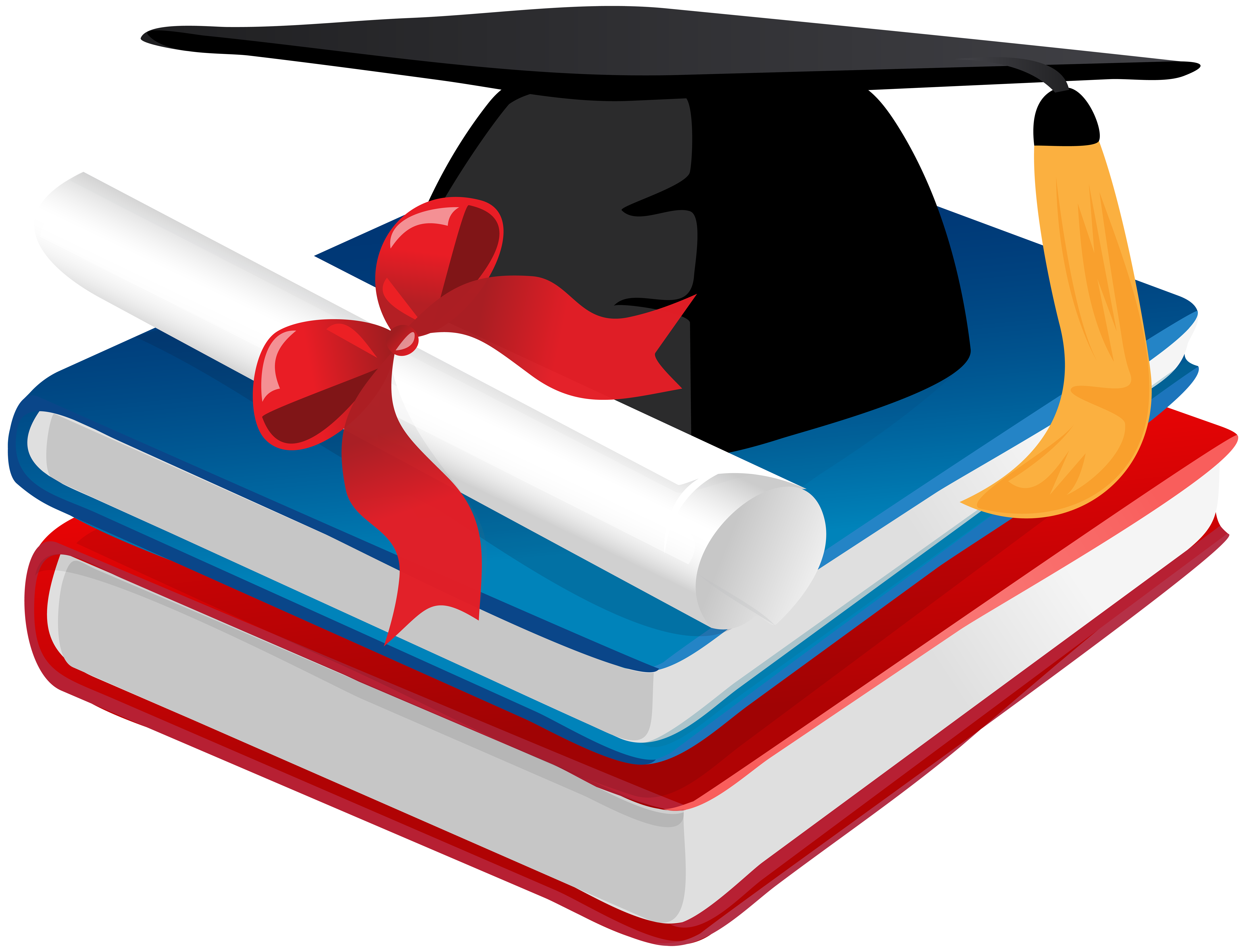 Graduation Cap Books and Diploma PNG Clip Art.