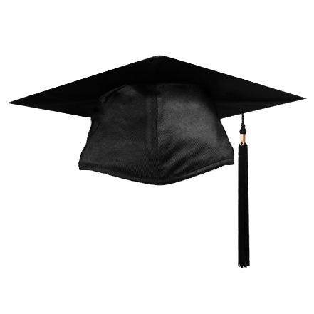 Cap and Gown Direct : Shiny Black Graduation Cap and Tassel.