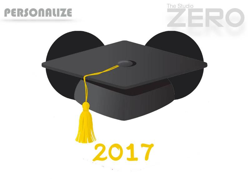 Graduation Cap Clipart, 2017 Mickey Head, PersonalizePrintable Iron On  Transfer or Use as Clip Art.