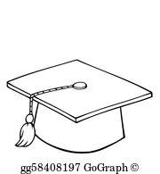 graduation cap clipart black and white #7
