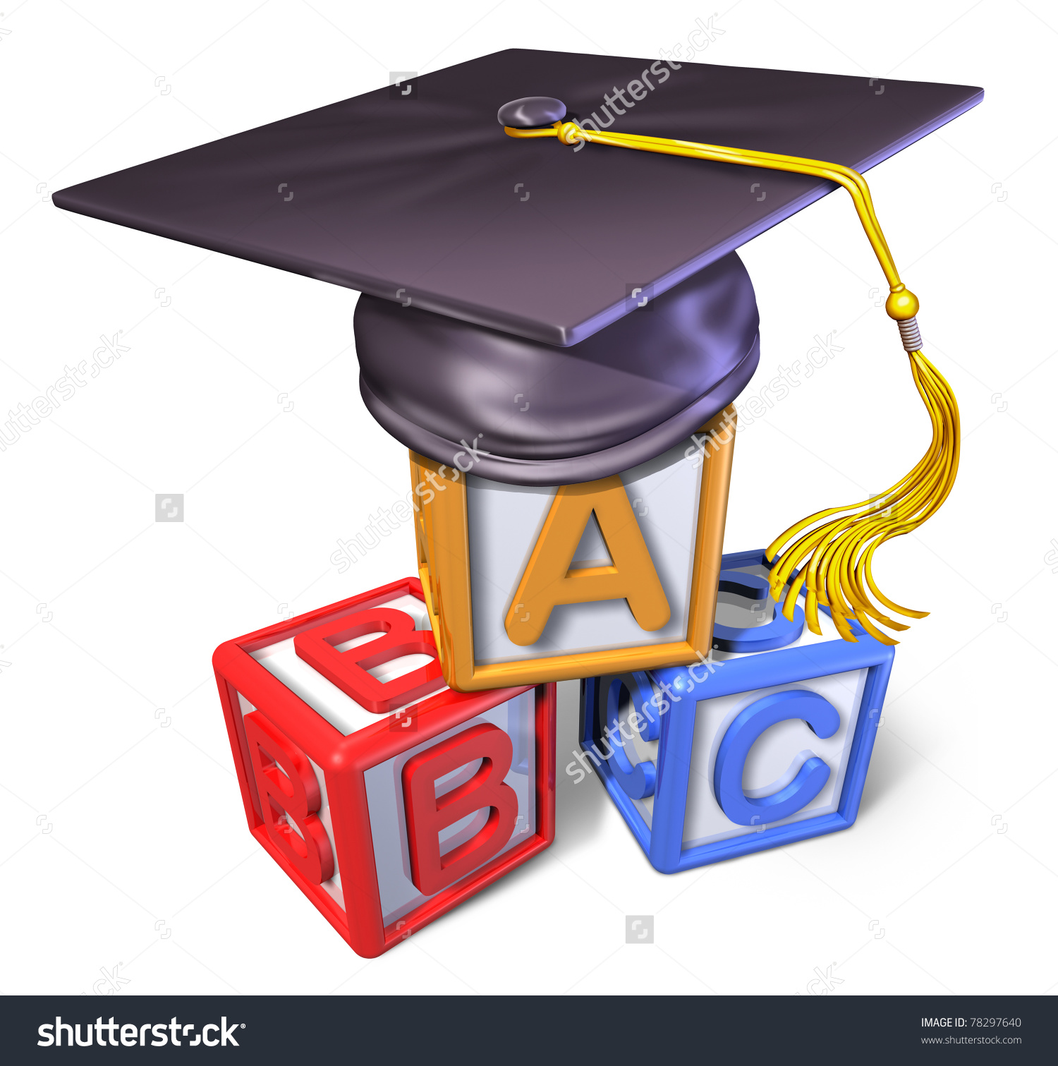 Graduation Cap Play Blocks Representing Concept Stock Illustration.