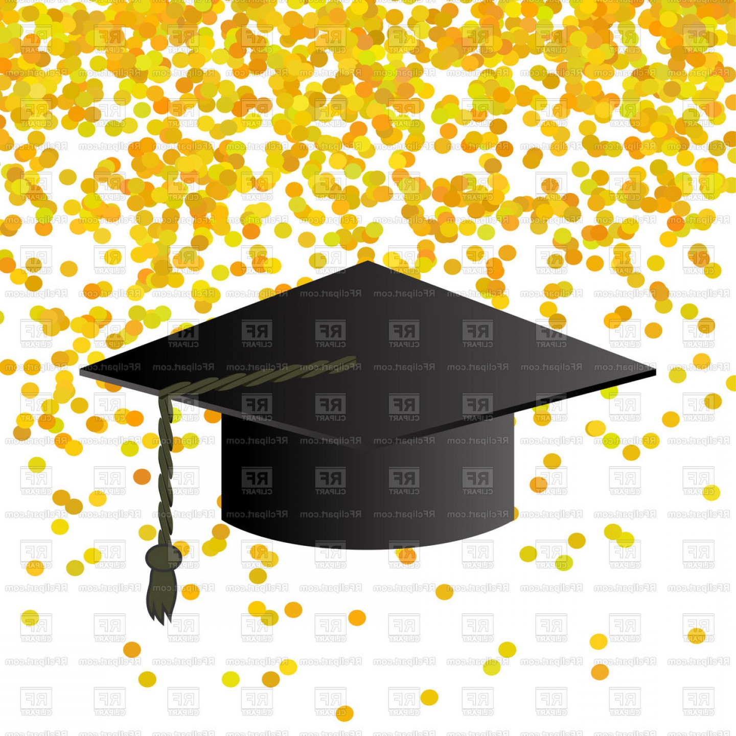 Black Graduation Cap On Yellow Confetti Background Vector.