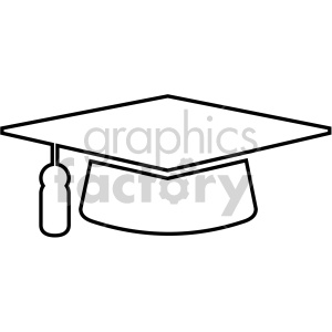 outlined graduation cap vector icon . Royalty.
