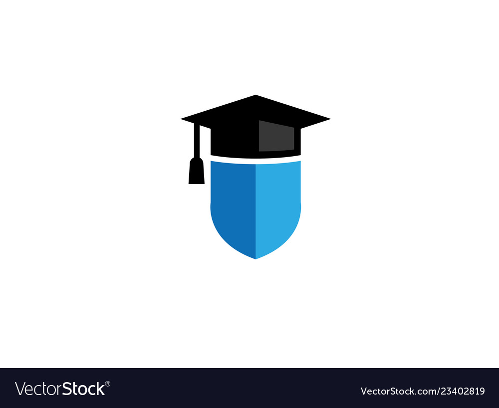 Graduation hat shield logo design icon.