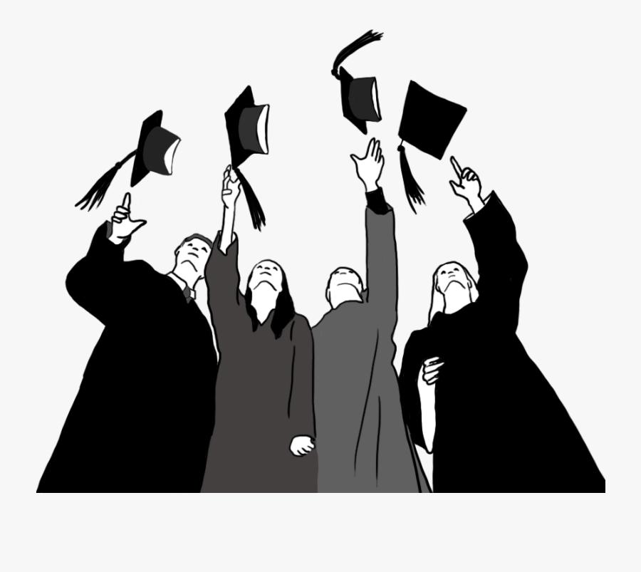 Graduate Cap Clipart, Graduations Caps In The Air Black.