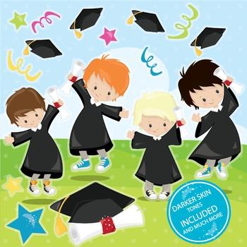 Graduation boys clipart commercial use, vector graphics, digital.