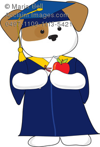 Cute Puppy Graduate at Graduation Ceremony Clipart Image.