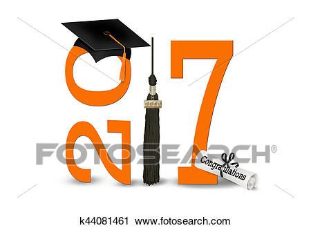 Graduation 2017 in black and orange Clip Art.