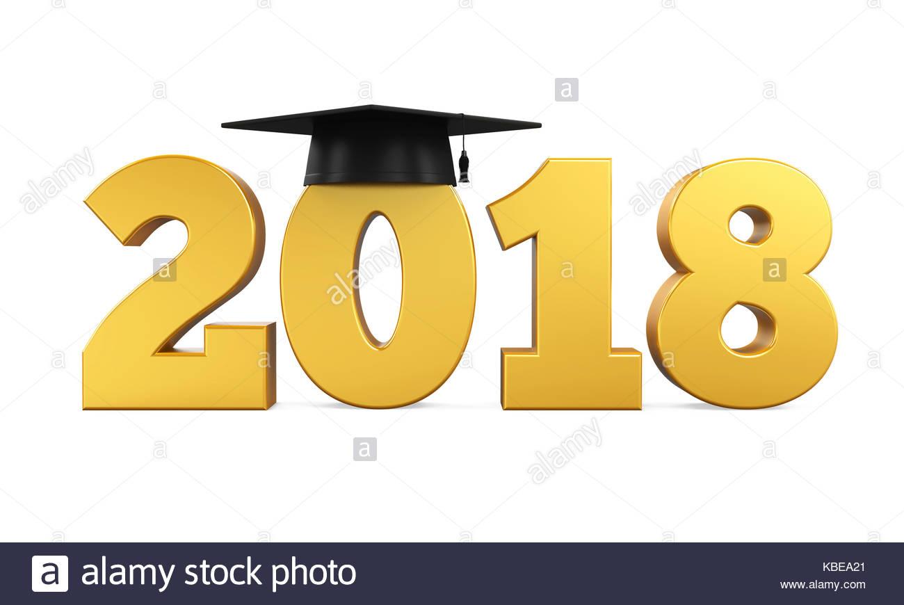 2018 Graduation Cap Isolated Stock Photo: 161969753.