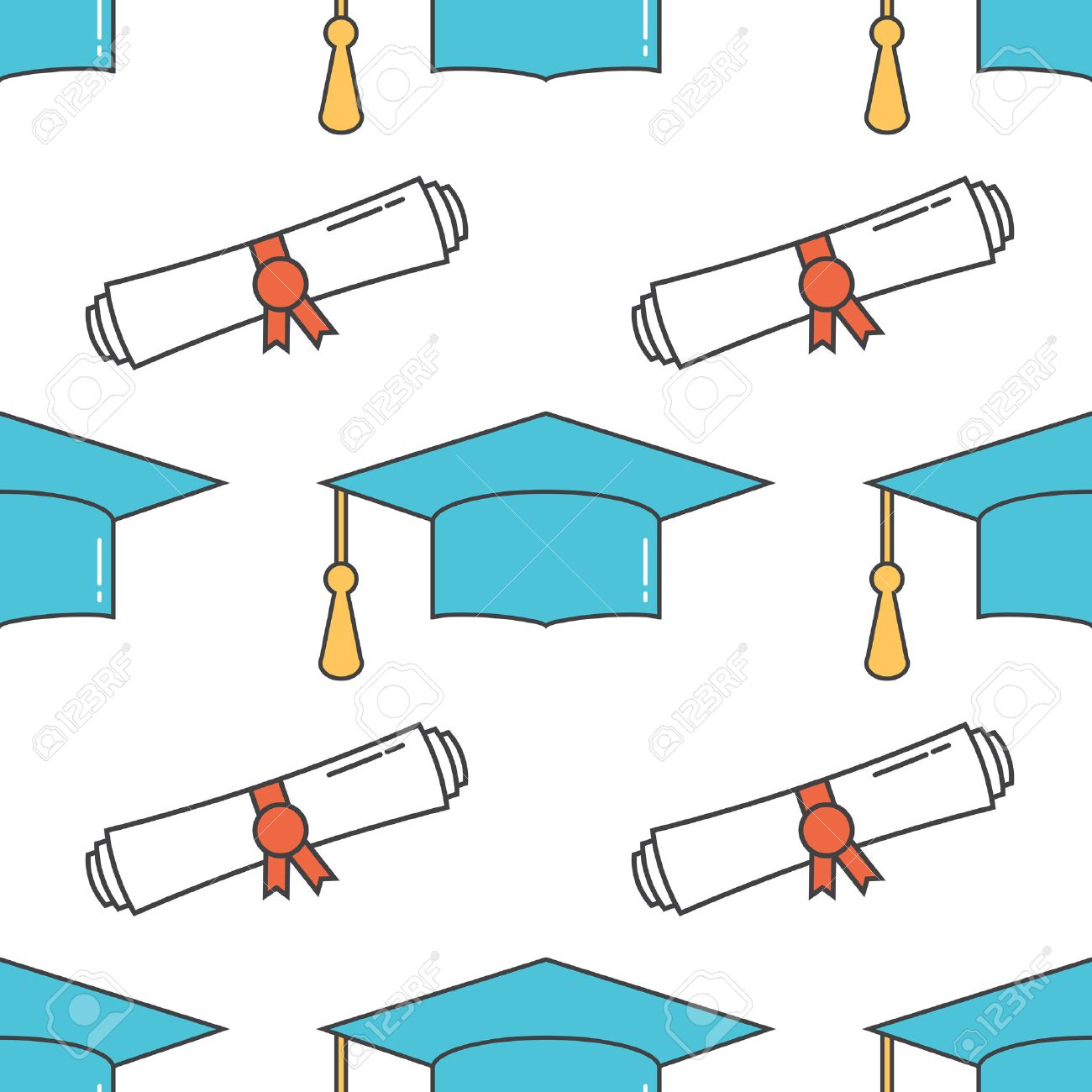 Graduation cap and diploma scroll seamless line art background.