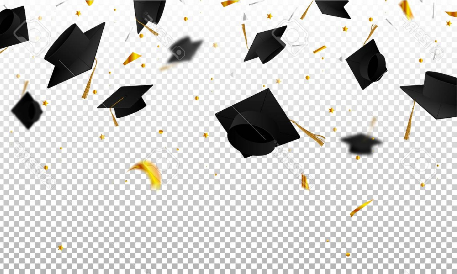 Photostock Vector Graduate Caps And Confetti On A Transparent.