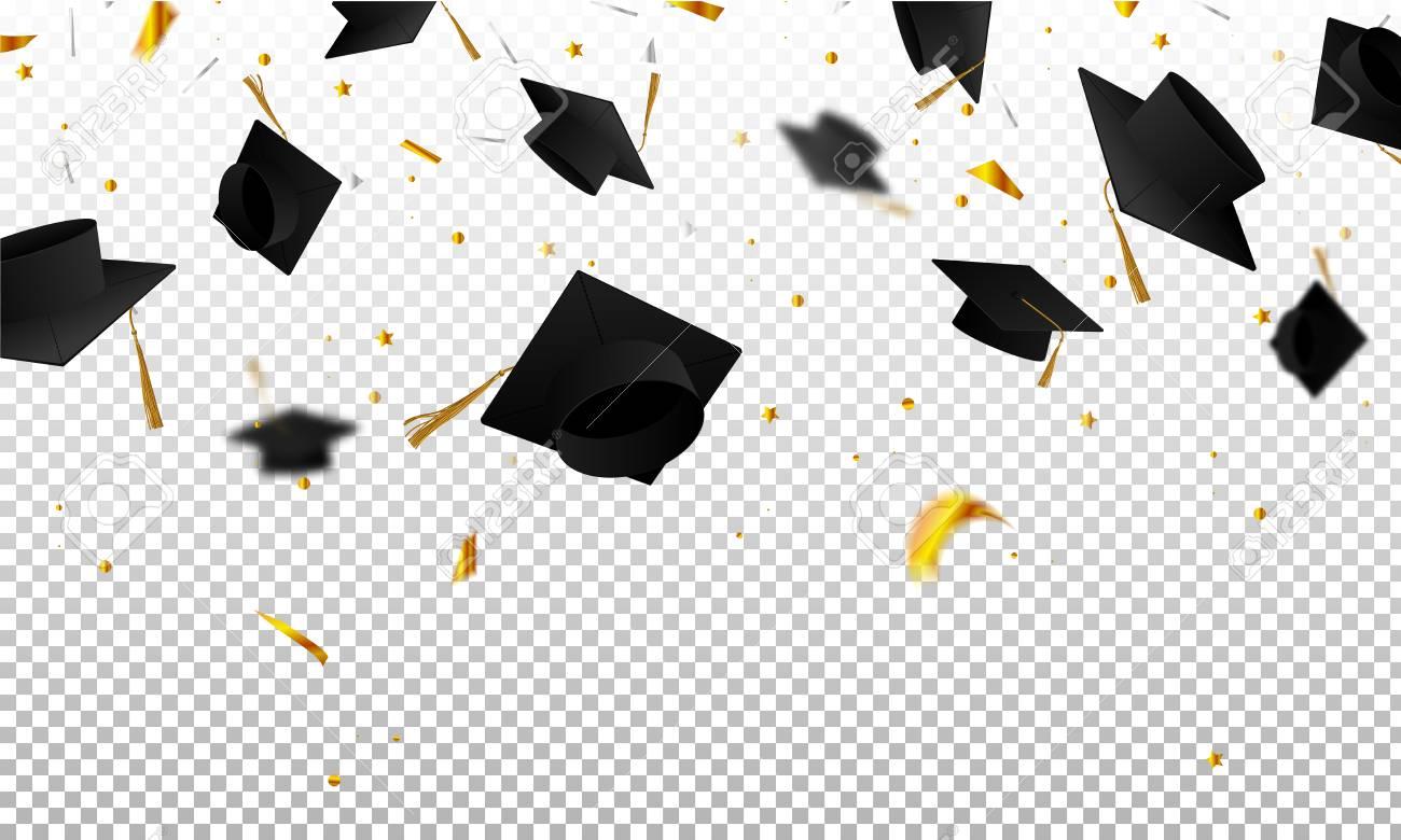 Graduate caps and confetti on a transparent background. Caps...