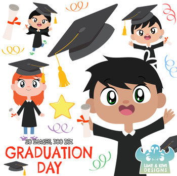Graduation Day Clipart, Instant Download Vector Art, Commercial Use Clip Art.