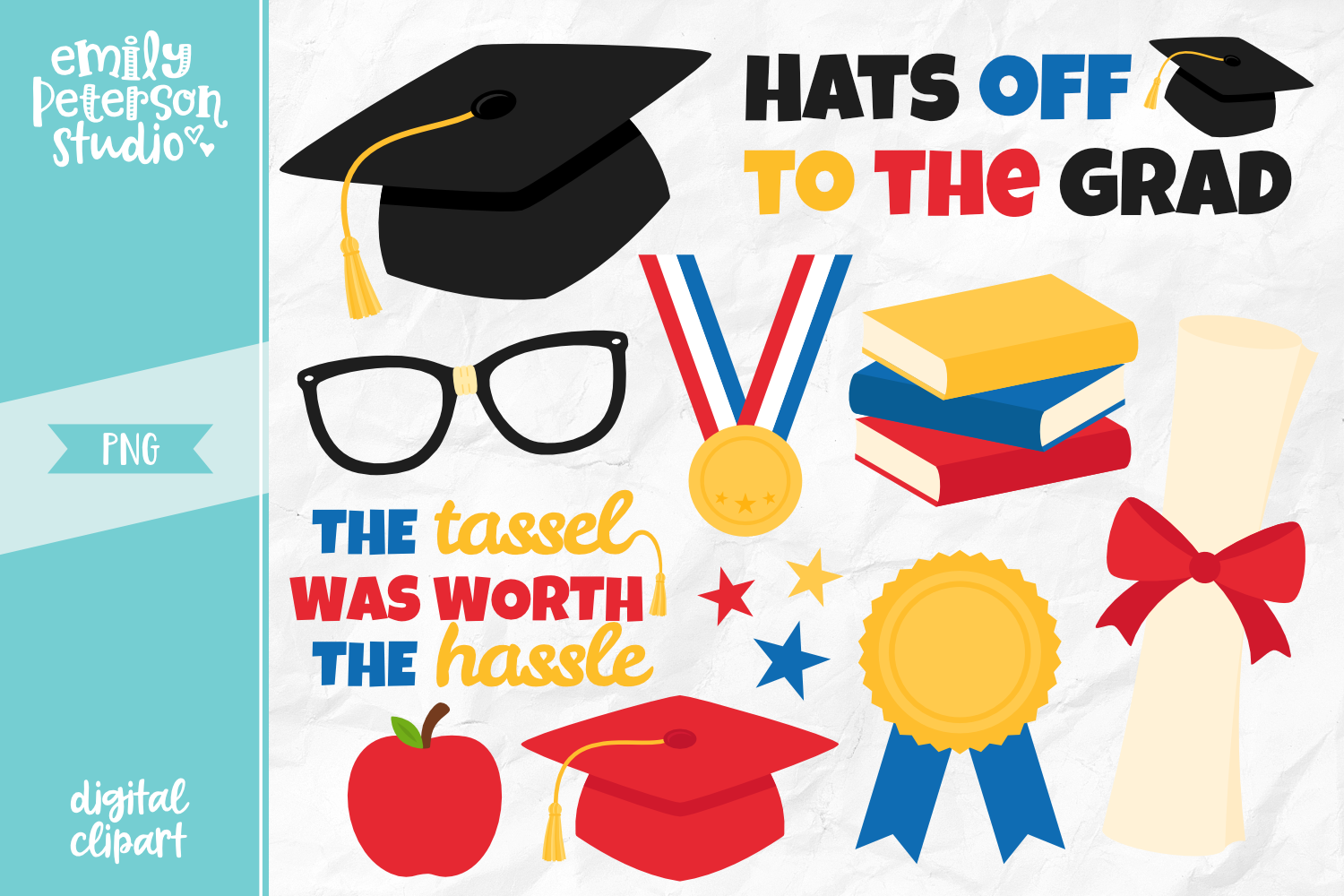 Graduation Day Clipart Illustration PNG.