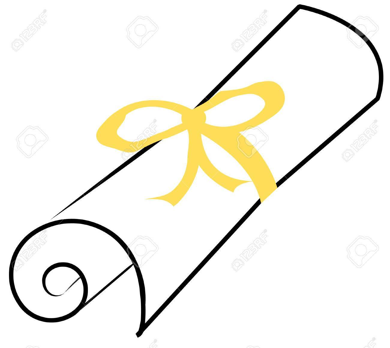 Graduation diploma or paper scroll with yellow ribbon.