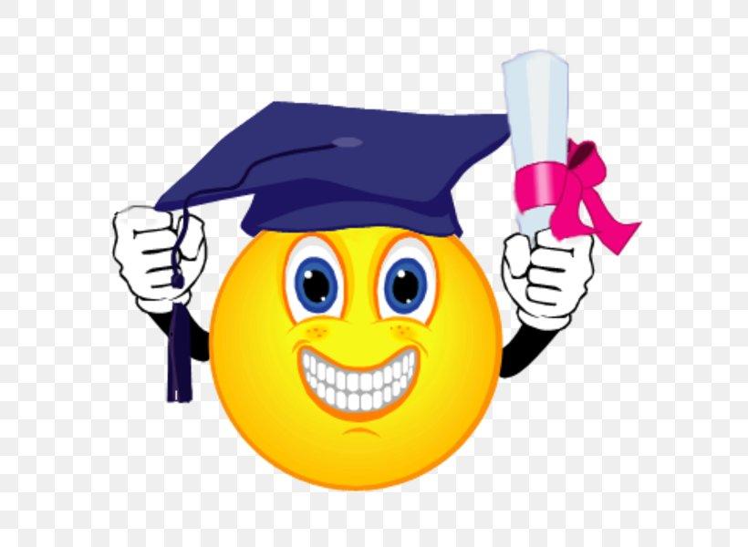 Smiley Emoticon Graduation Ceremony Clip Art, PNG, 600x600px.