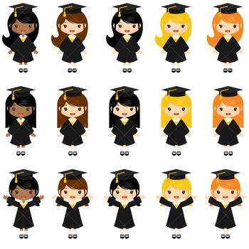 Graduation Girls Clip Art.