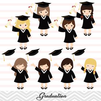 Graduation Girls Clipart, Girls Graduate DIgital Clip Art, Graduation Girl.
