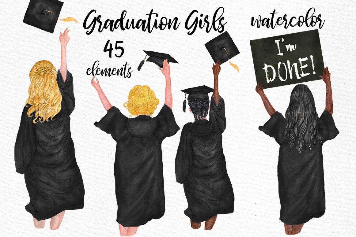 Graduation Clipart Watercolor Girls Graduating clipart.