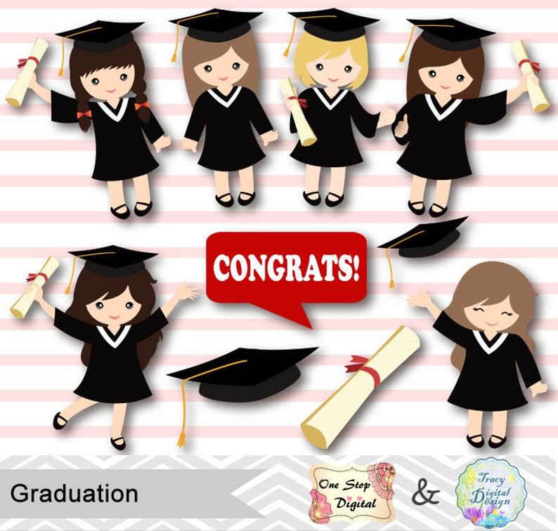 Graduation Girls Clipart, Girls Graduate DIgital Clip Art, Graduation Girl,  Preschool kindergarten graduation Clipart, Graduate, Grad 00202.