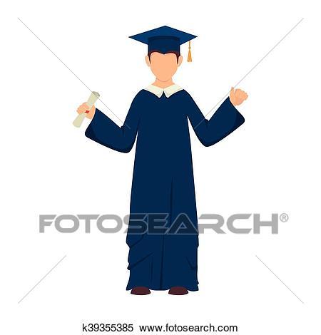Man boy graduate gown Clipart.
