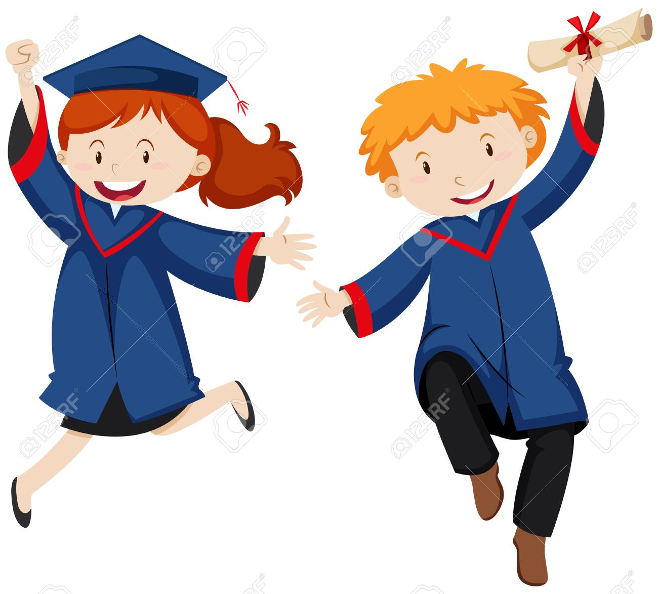 Boy and girl in graduation gown illustration.