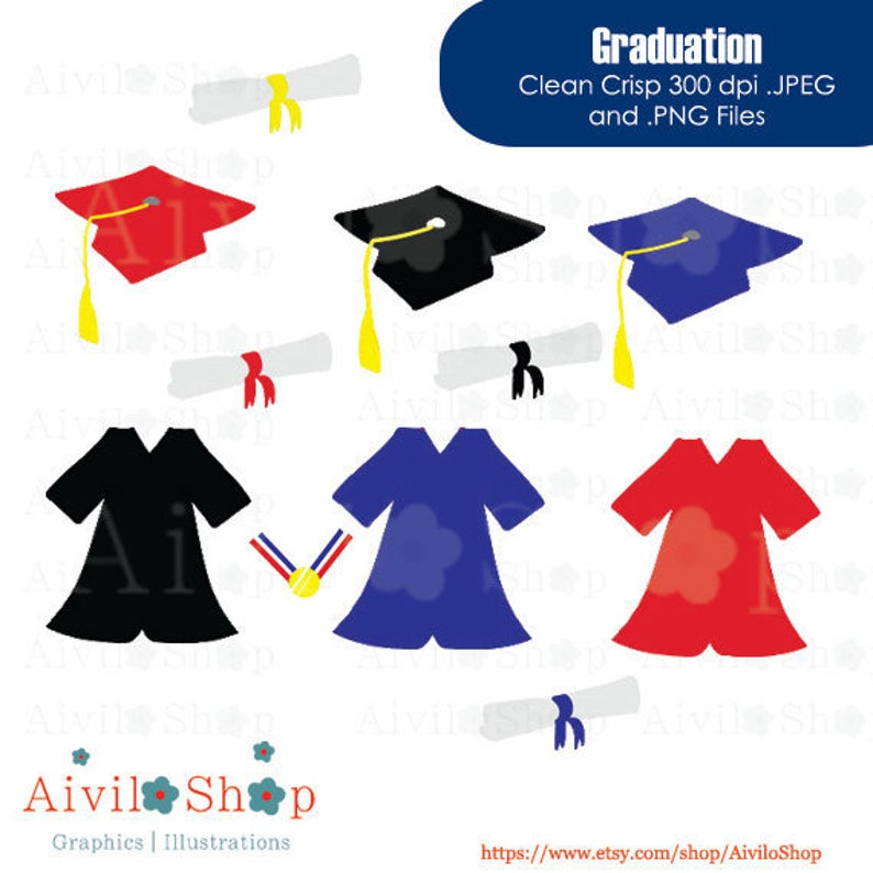 GRADUATION gown clipart, medal, hat, diploma 50%off vector CLIPART! black  red and blue.