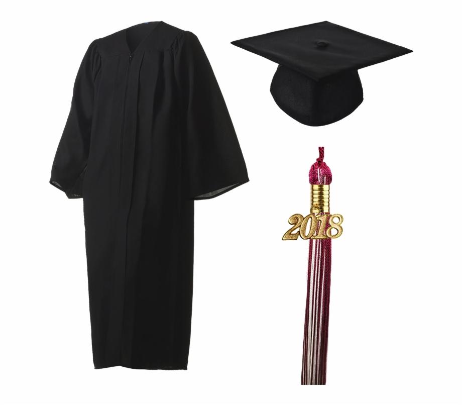 2018 Graduation Black Cap, Gown, & Tassel.