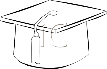 Royalty Free Clip Art Image: Black and White Graduation Cap with Tassel.