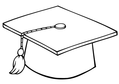 Graduate Cap coloring page.