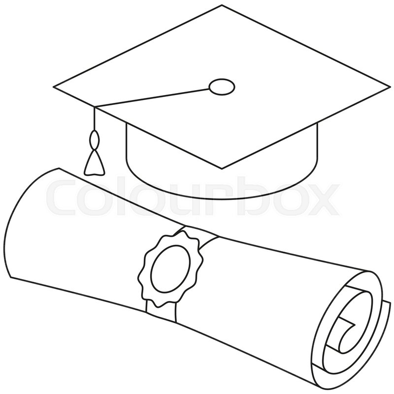 Line art black and white diploma.
