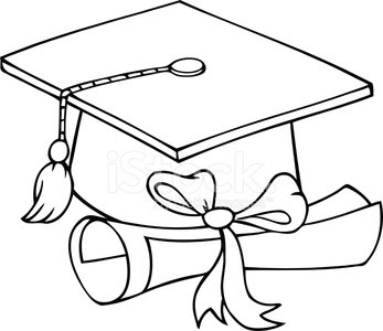 Black and White Graduation Hat With Diploma premium clipart.