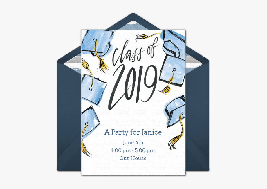 Graduation Invitation Template , Transparent Cartoon, Free.