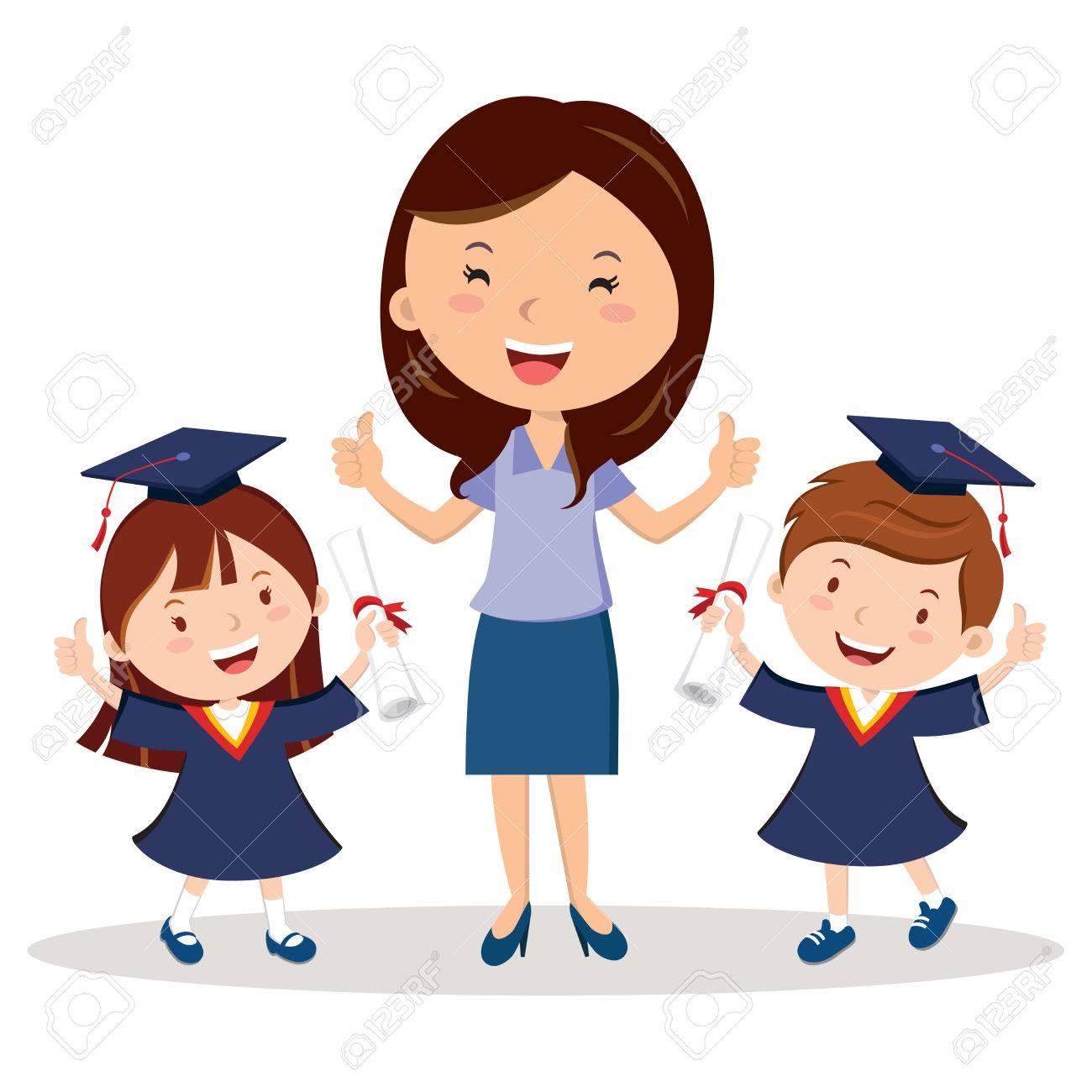 Teacher and graduation kids.