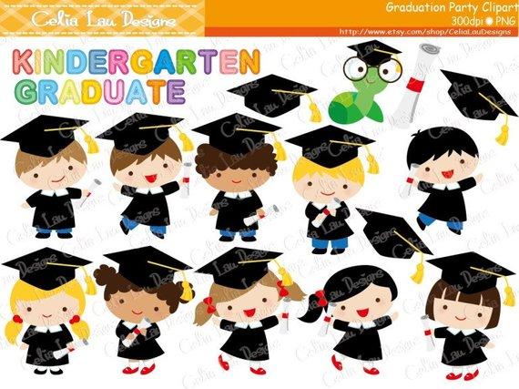 Graduation Party Clipart ,Graduate boys and girls Clip art.