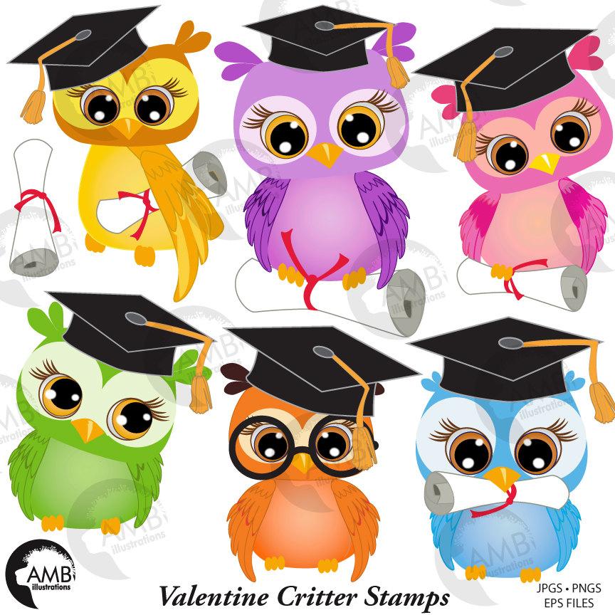 Owl Clipart, Graduation Owls Clipart, Owl Clip Art, Owl with Graduation  Cap, AMB.