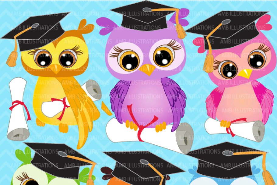 Graduating Owls Clipart AMB.