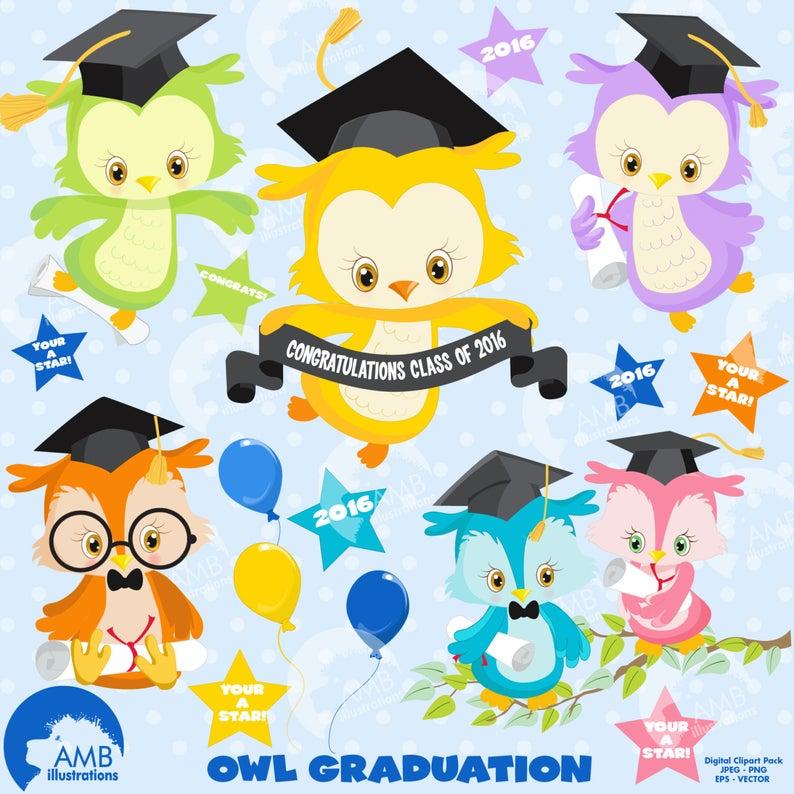 Graduation owls clipart, Graduation, owl clipart, instant download,  commercial use, digital clipart, vector clipart, AMB.