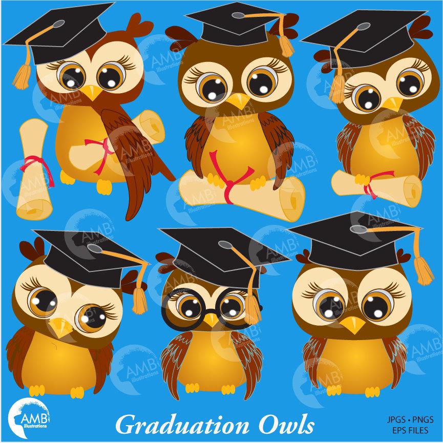 Owl Clipart, Graduation Clipart, Cute Owl Clipart, AMB.