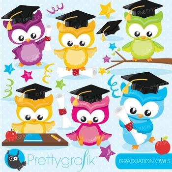 Graduation owls clipart commercial use, graphics, digital clip art.