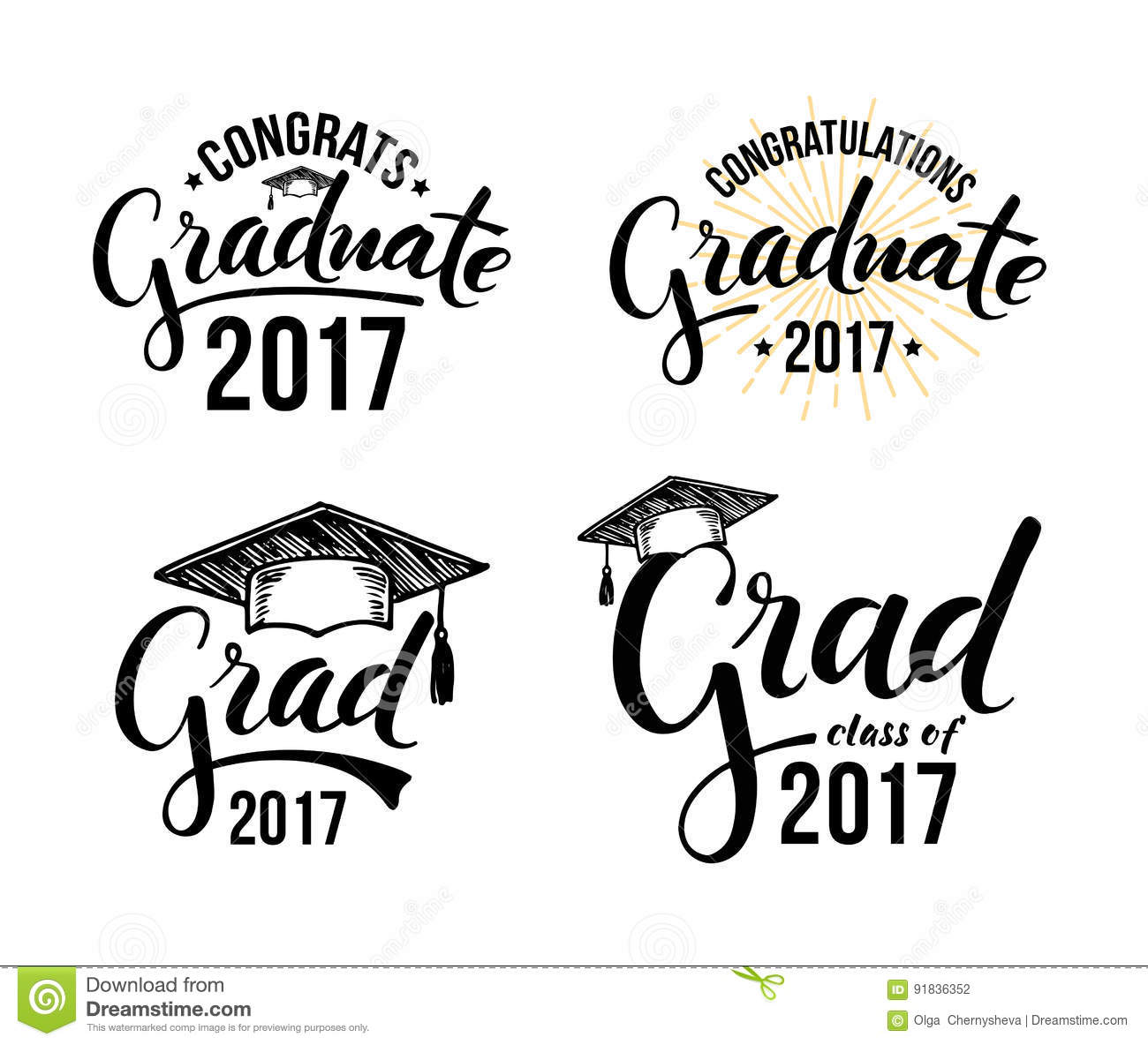 Congratulations Graduate 2017 Stock Vector.