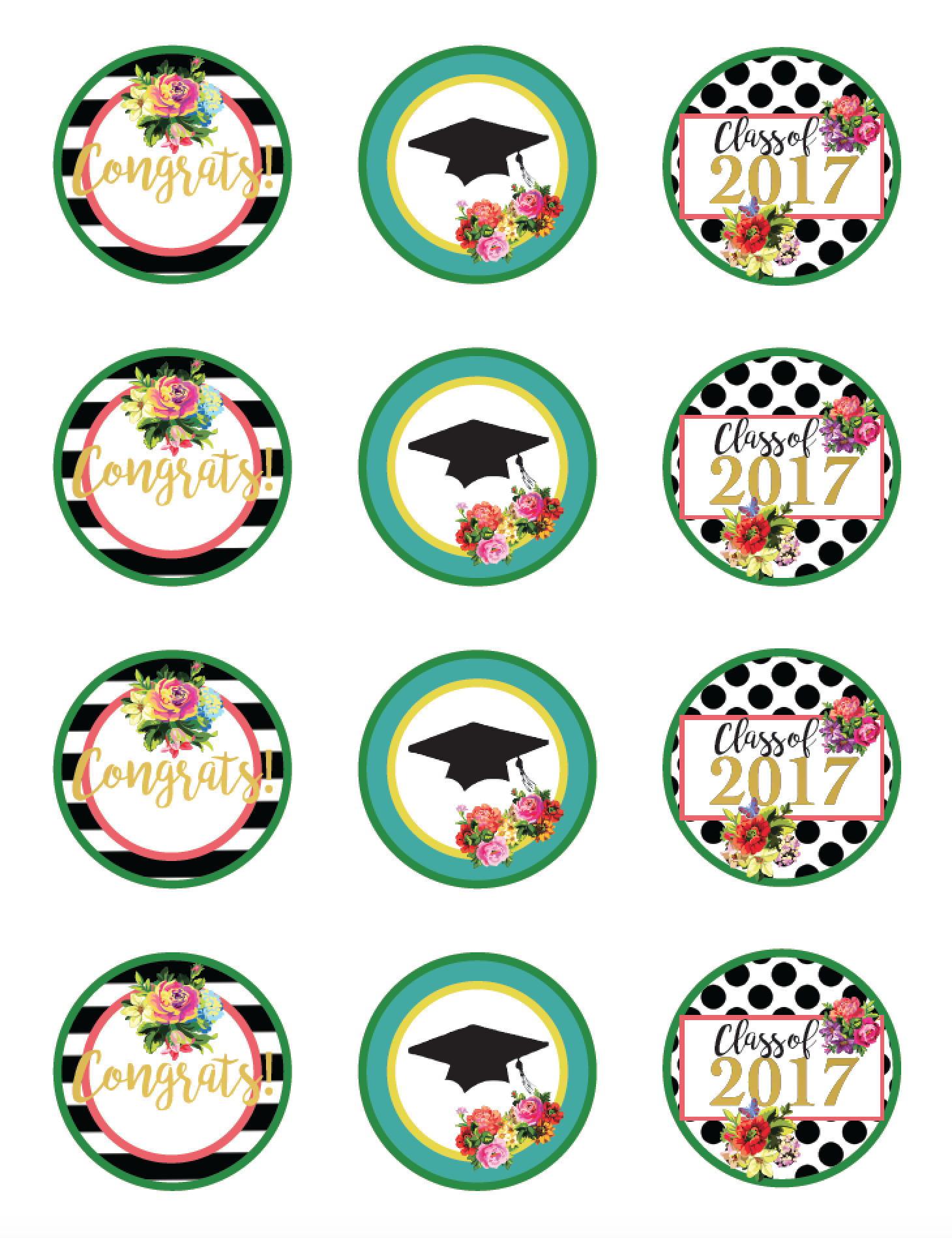 Class of 2017 Free Floral Graduation Party Printables.