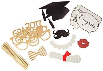 BESTOYARD 17pcs Graduation Photo Props Graduation Phtoto Booth Props 2017  Graduation Party Decorations.